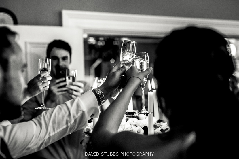 guests toasting black and white