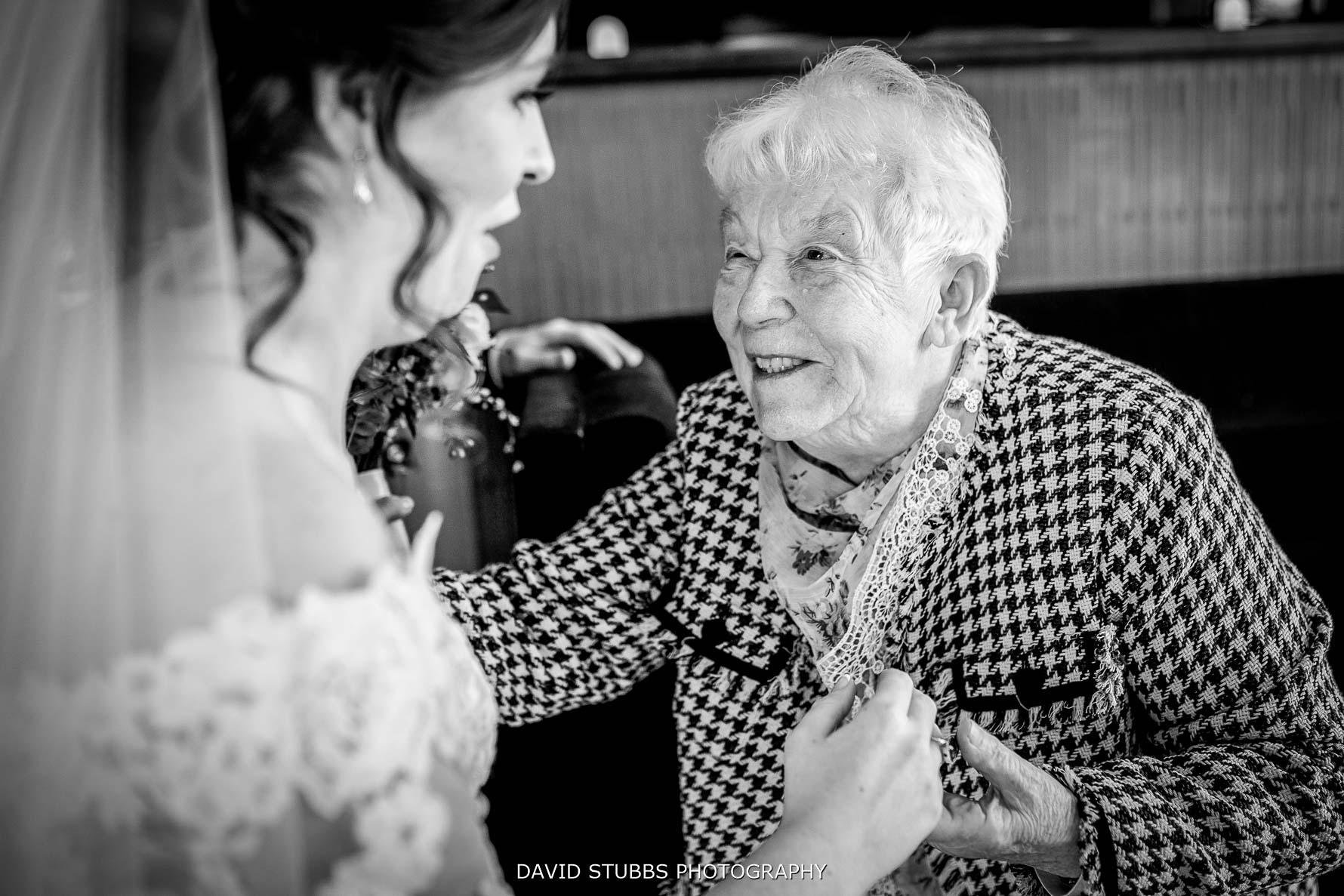 gran looking at the bride