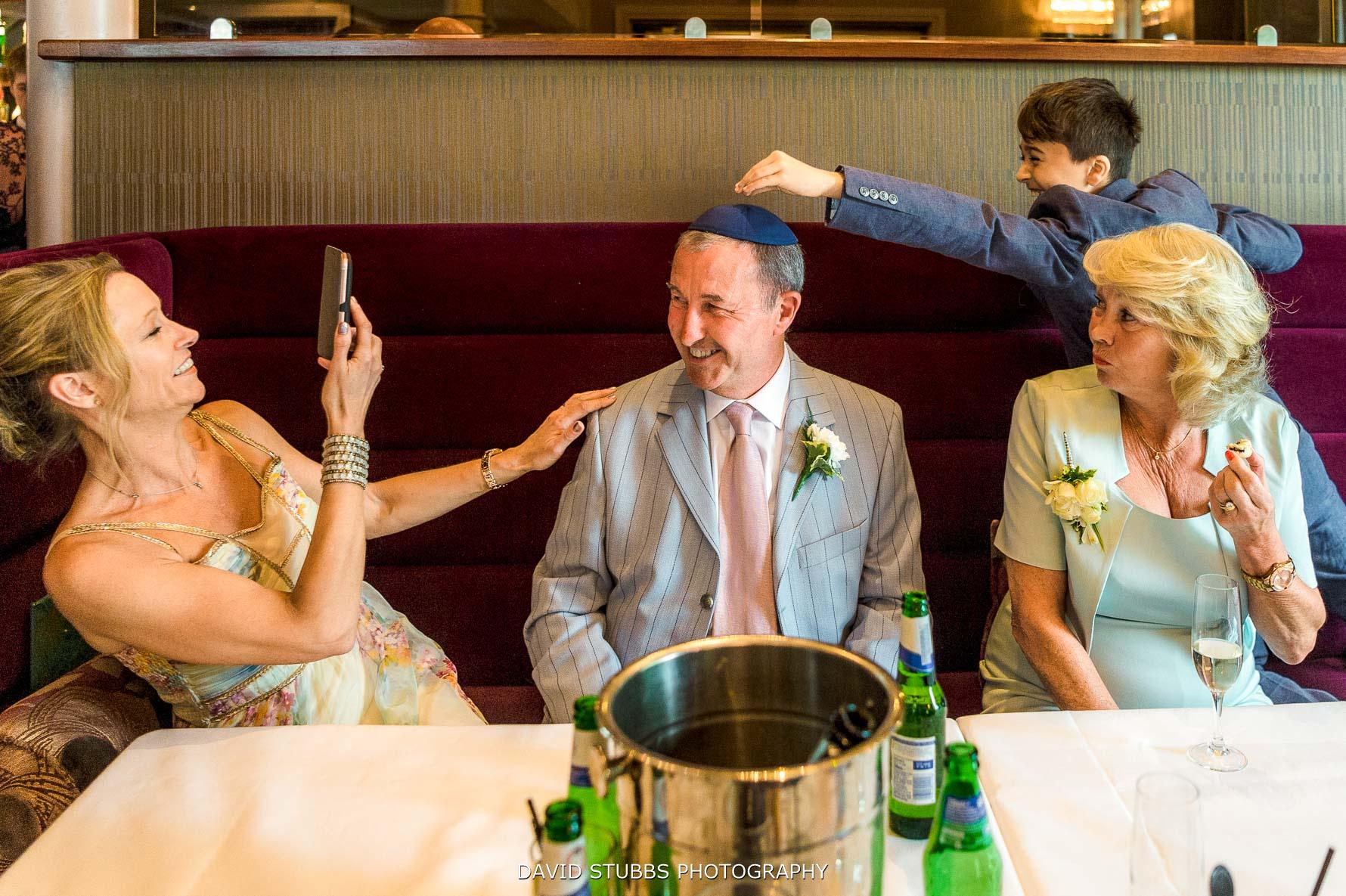 wedding guests having fun at a wedding