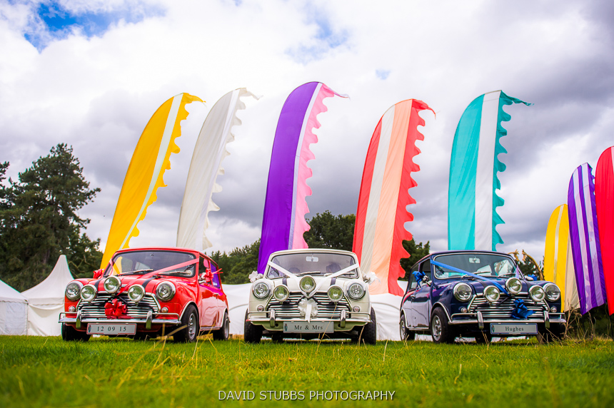 mini's lined-up at woodland wedding