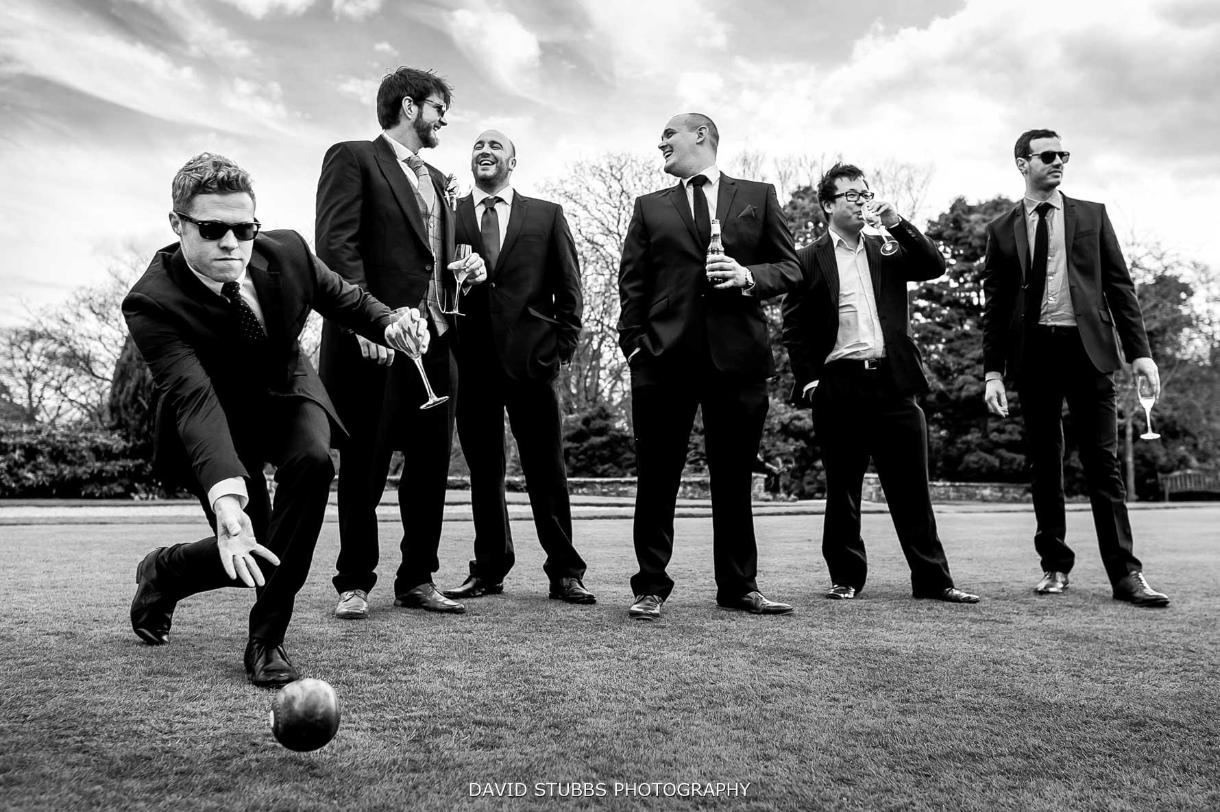natural eaves hall wedding photo of groomsmen