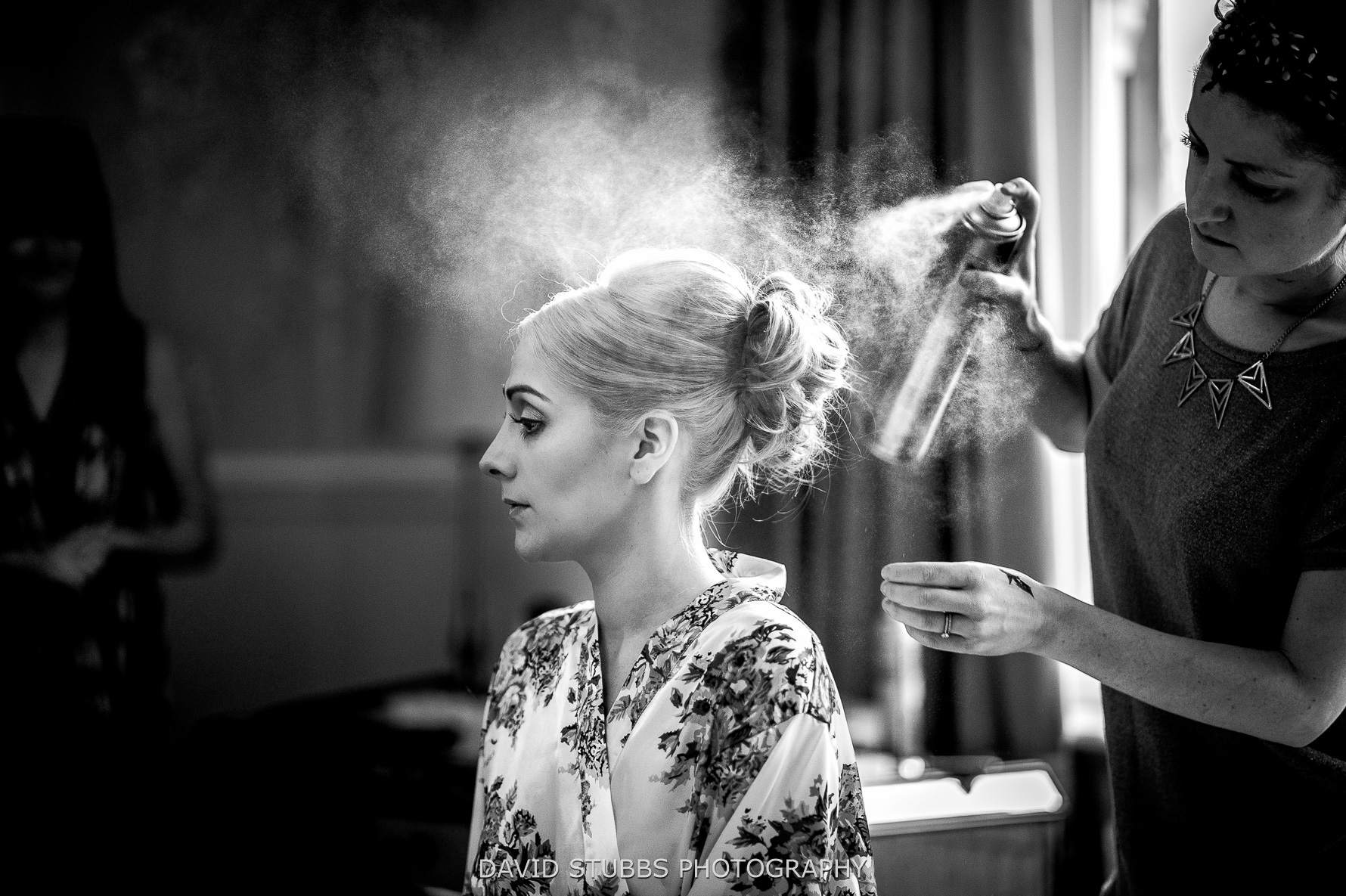 hair spray in black and white