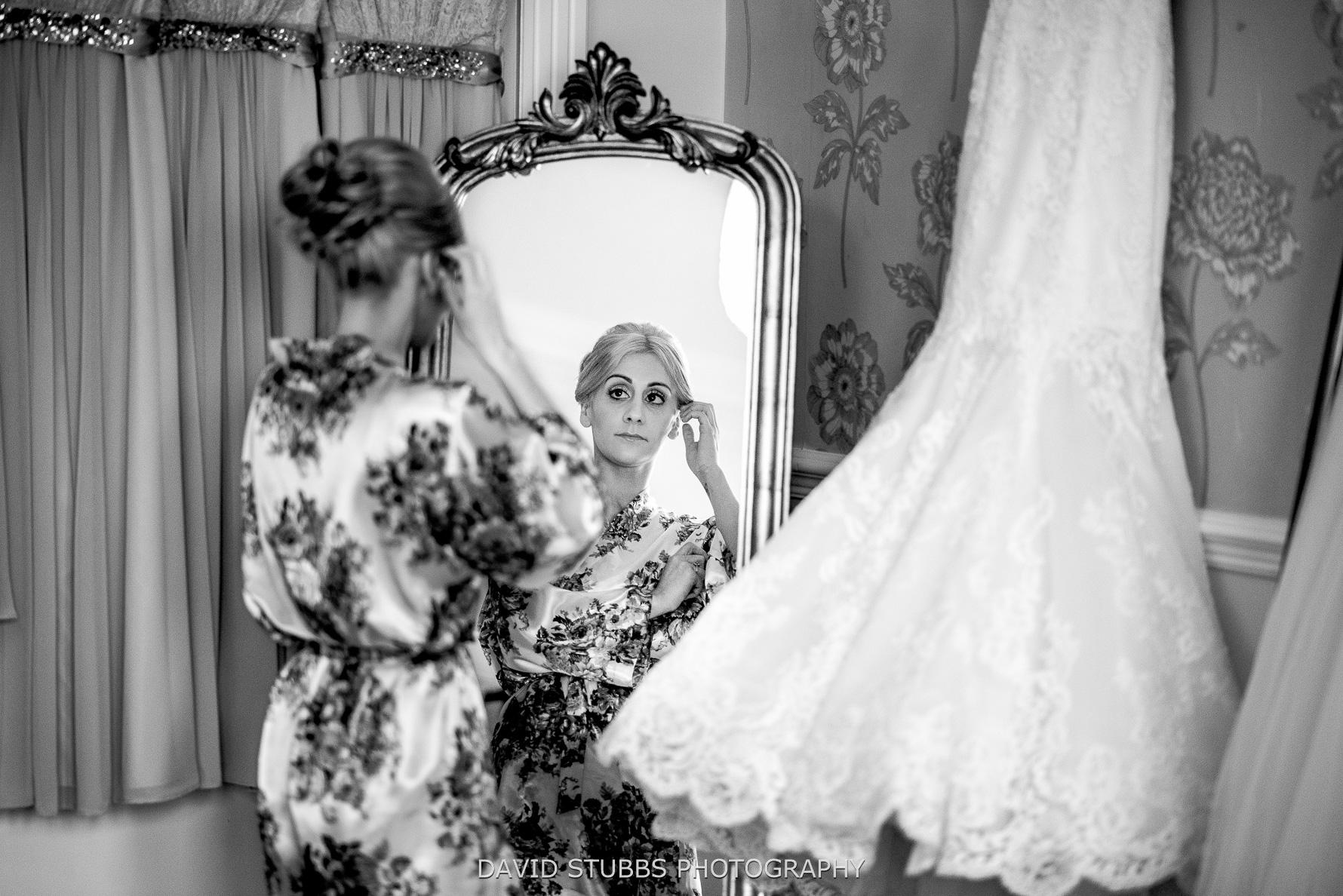 bride in mirror