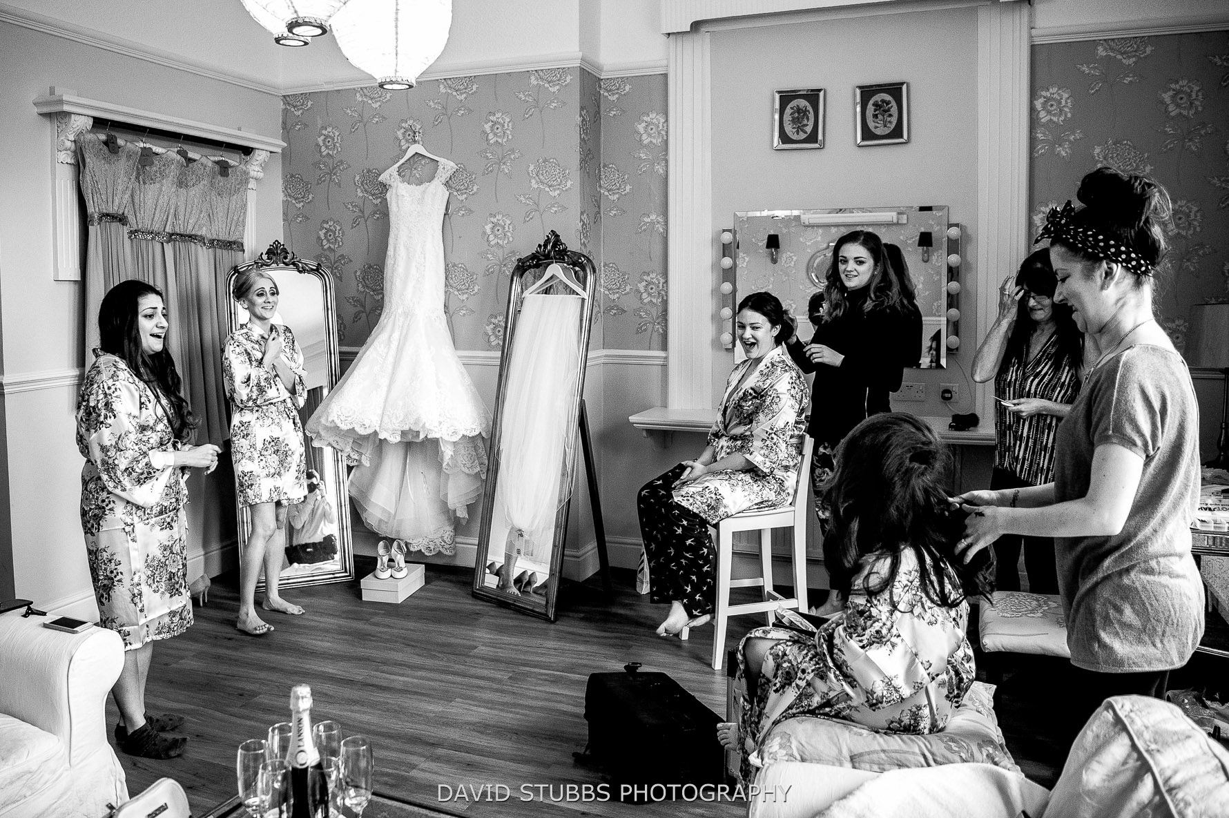 bridal prep room laughter