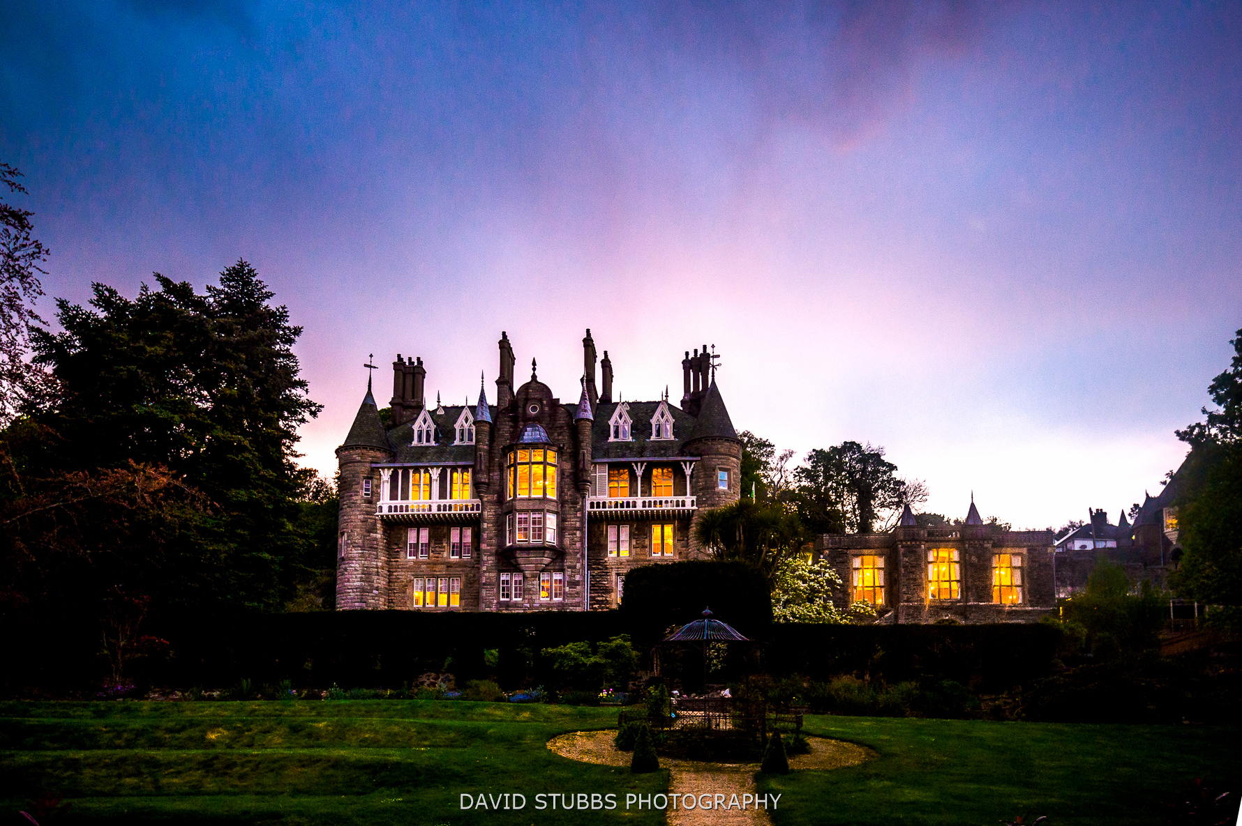 Chateau Rhianfa at dusk wedding