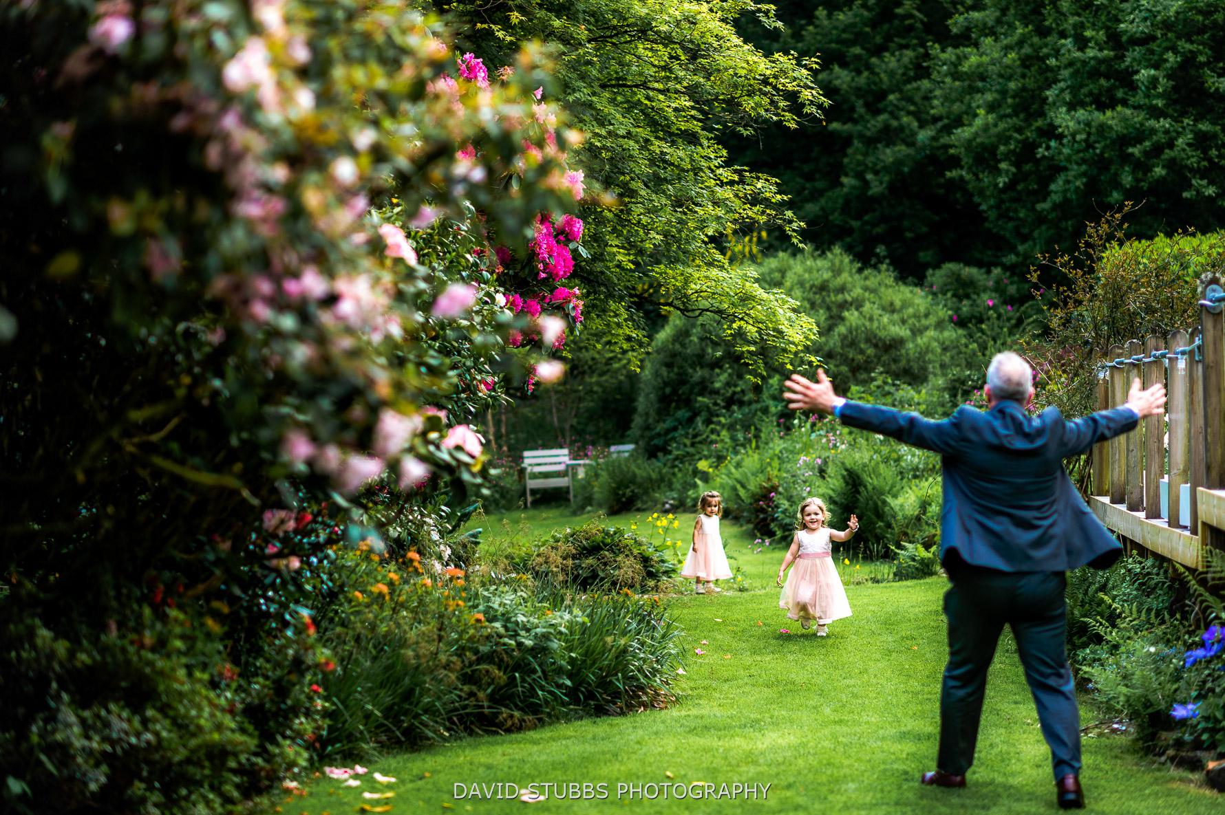 girls running around the gardens