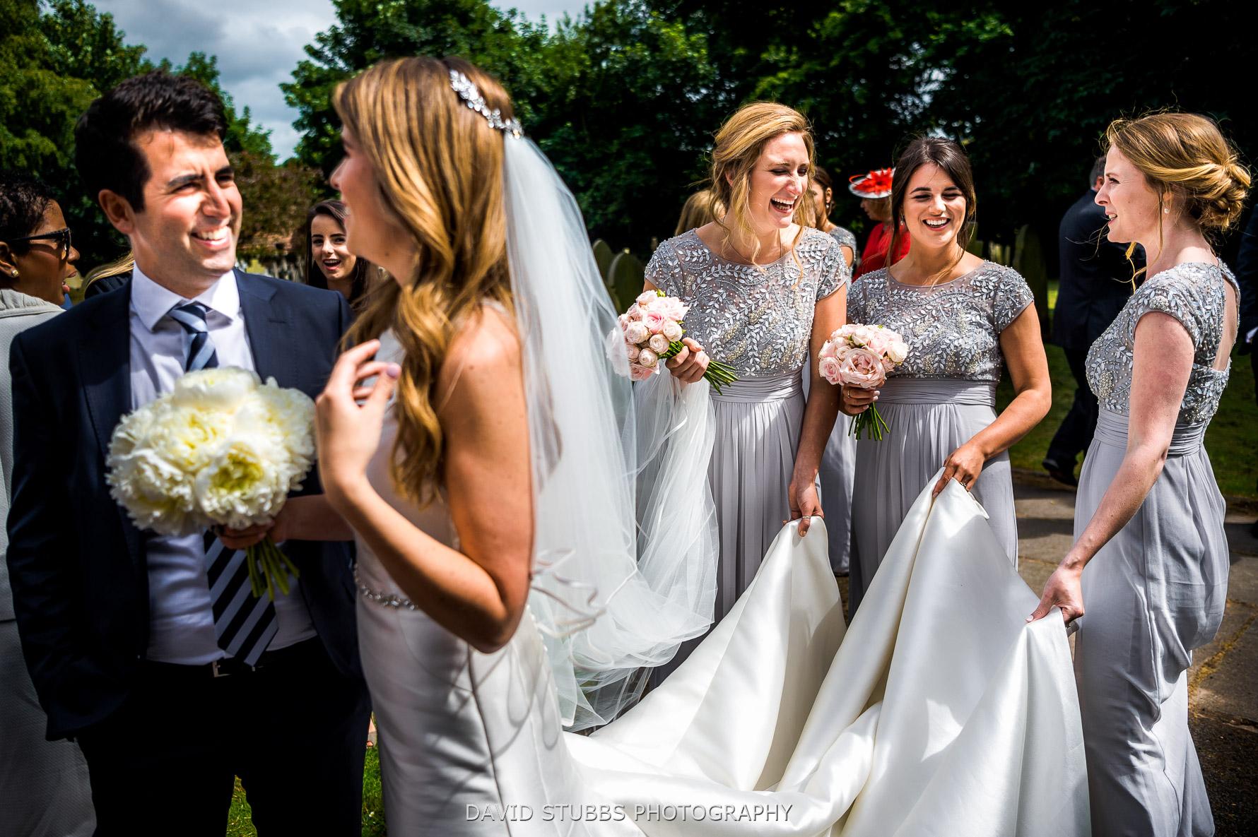 holding dress for wedding