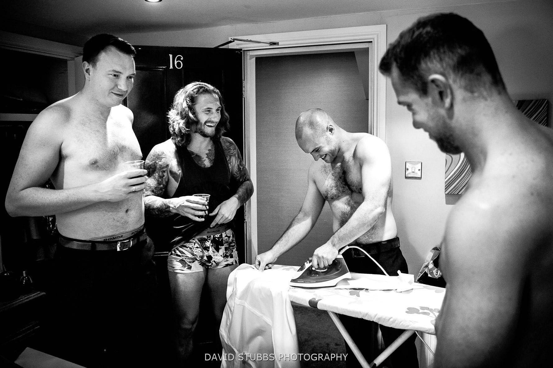 ironing wedding shirt