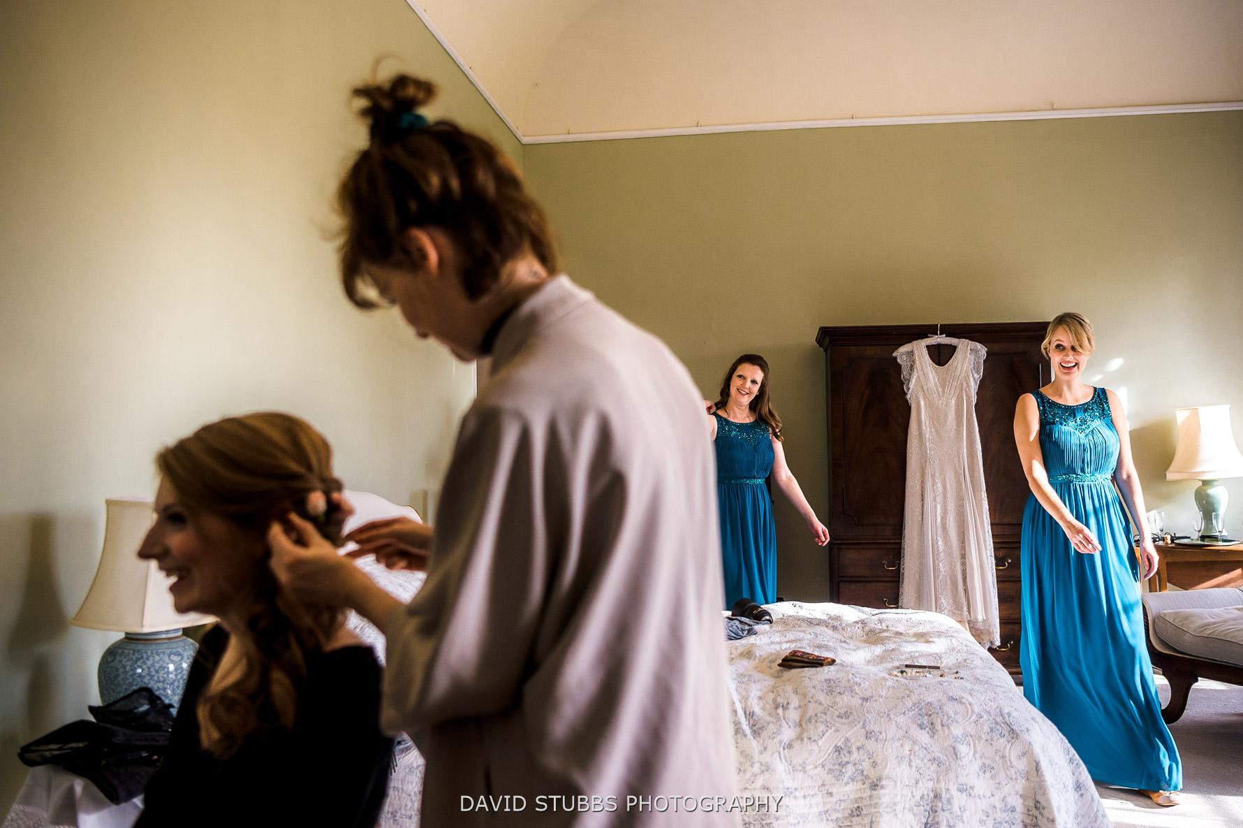 bridesmaids enter the room