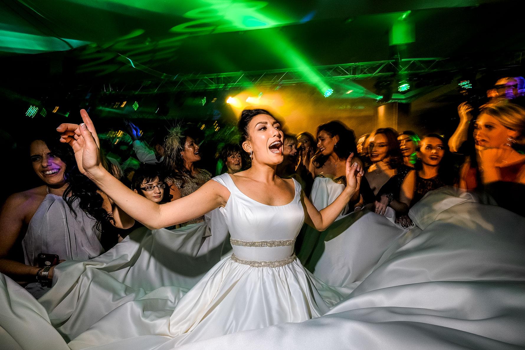 wedding gown high in air