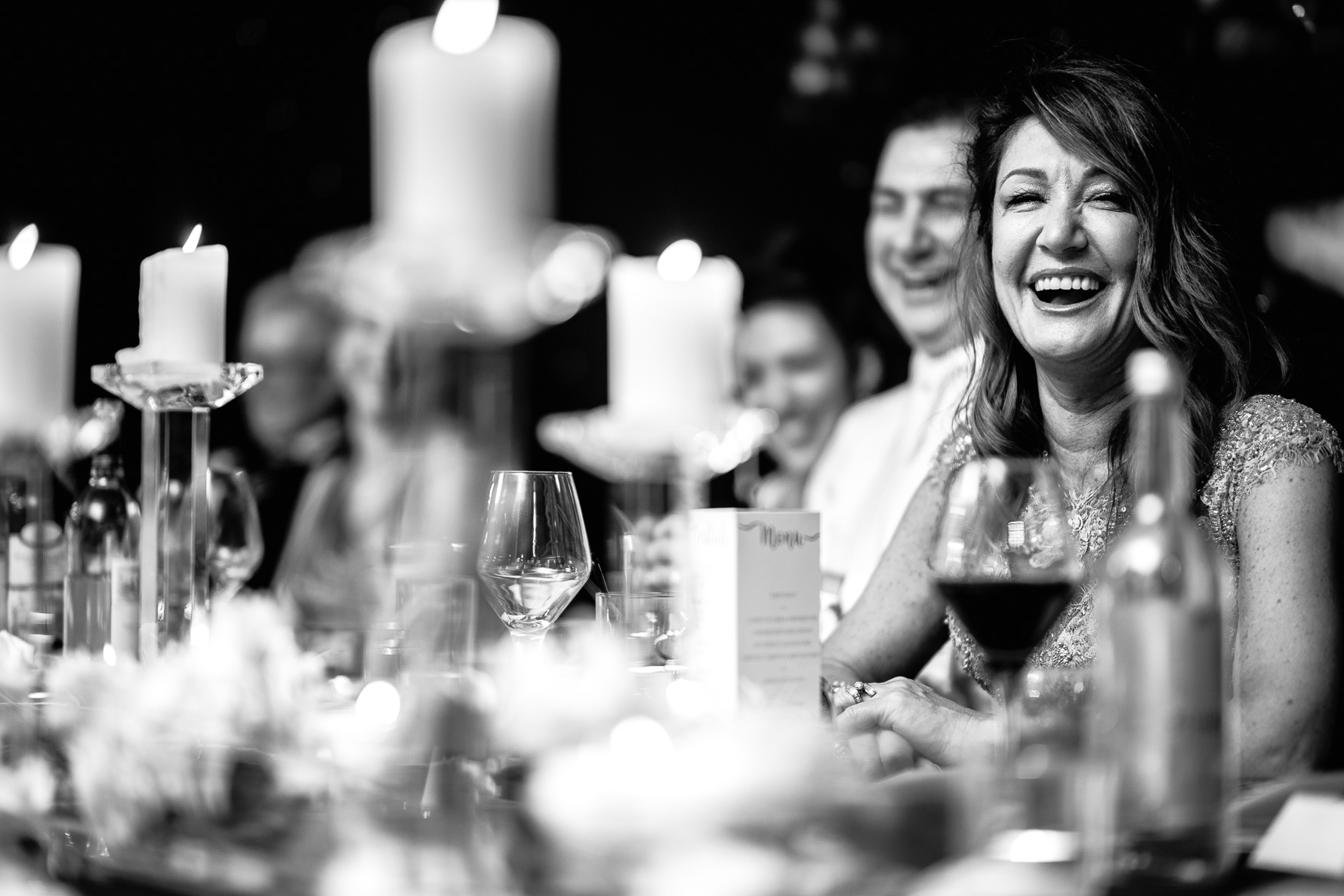 mother of bride laughing