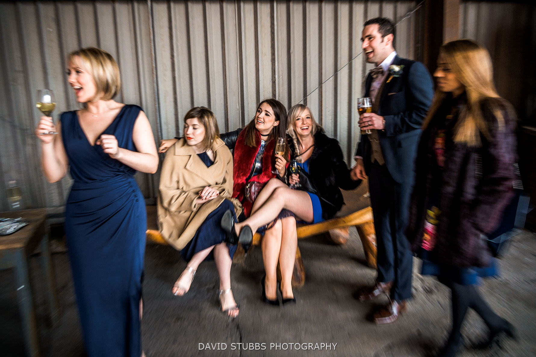 guests having a champagne reception
