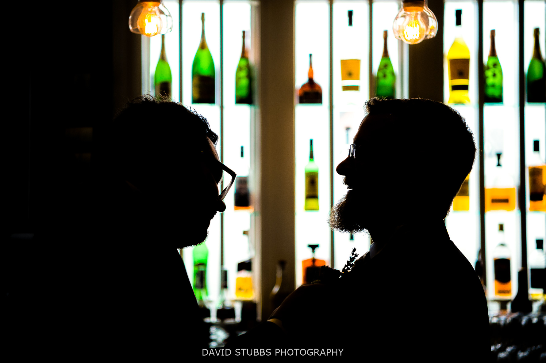 silhouette in bar light