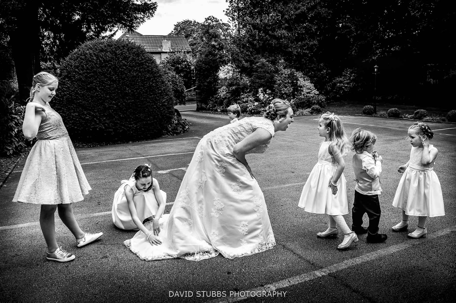 layered photo of bride and kids