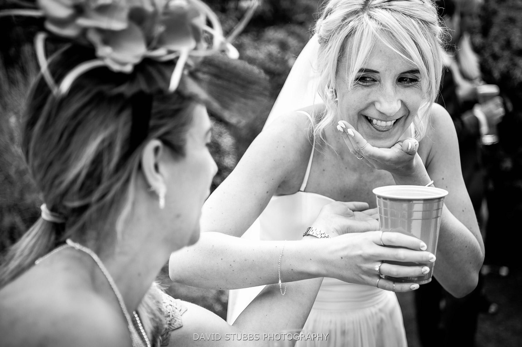 bride spilling beer