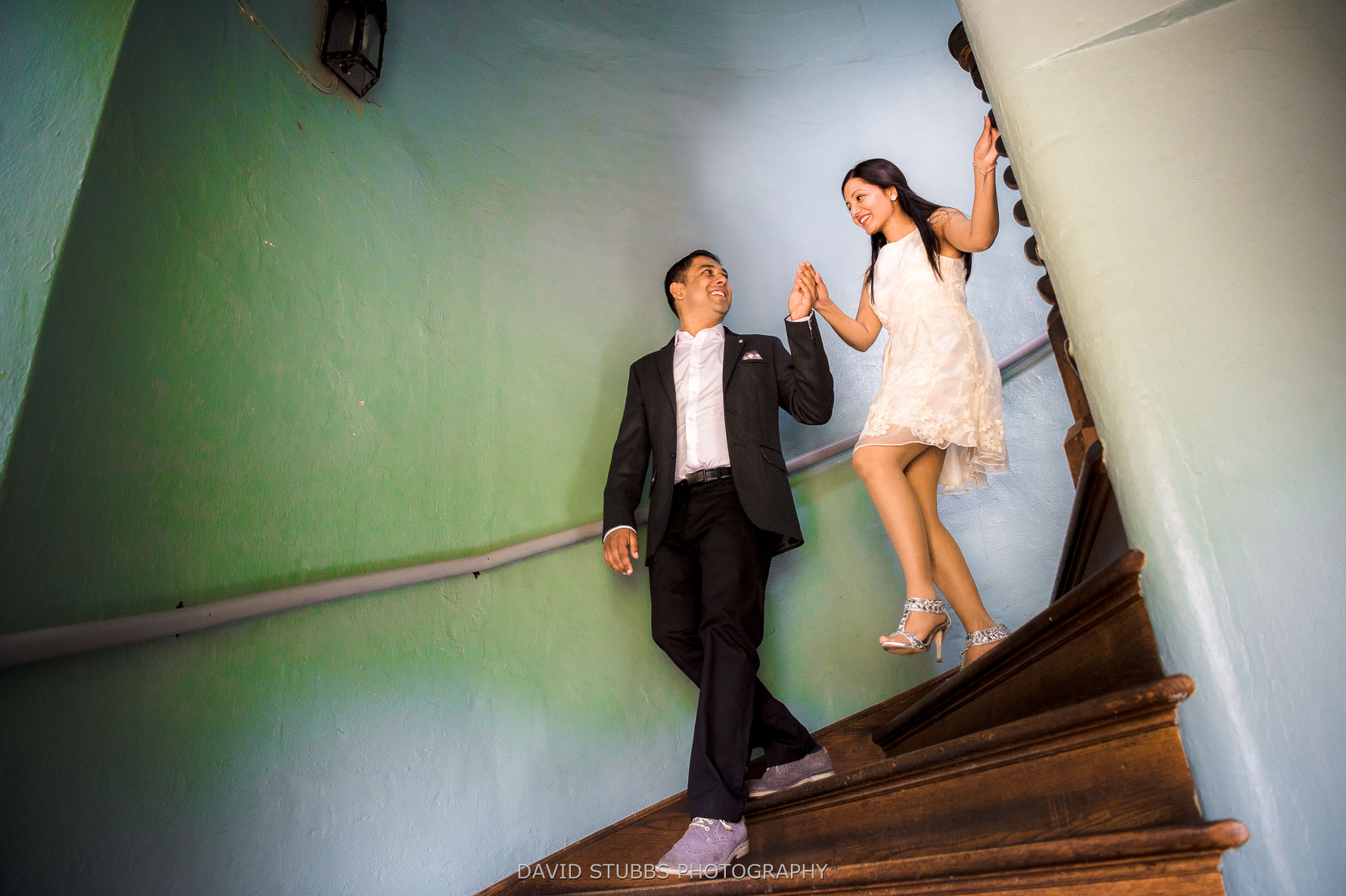 couple walking down the stairs