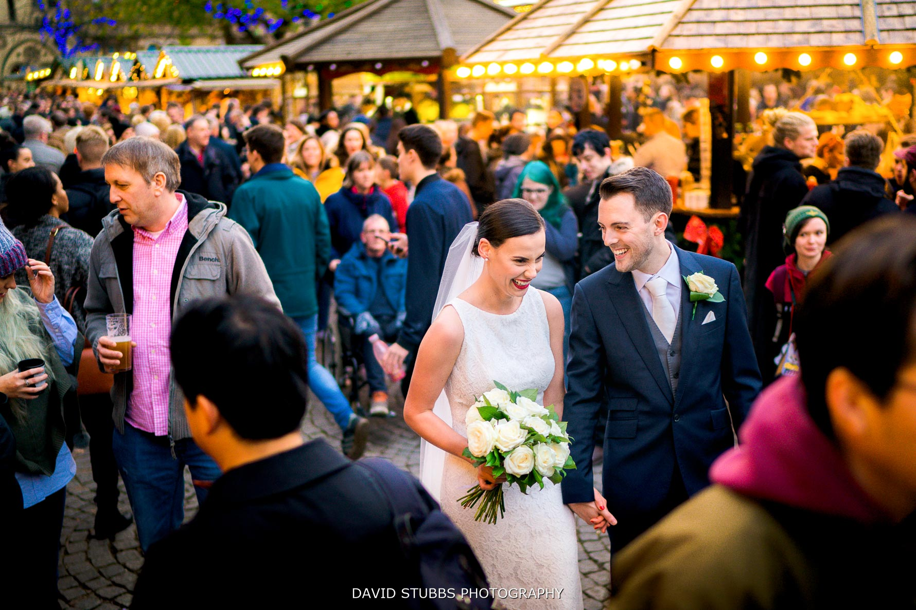 bride and groom in Manchester Christmas markets