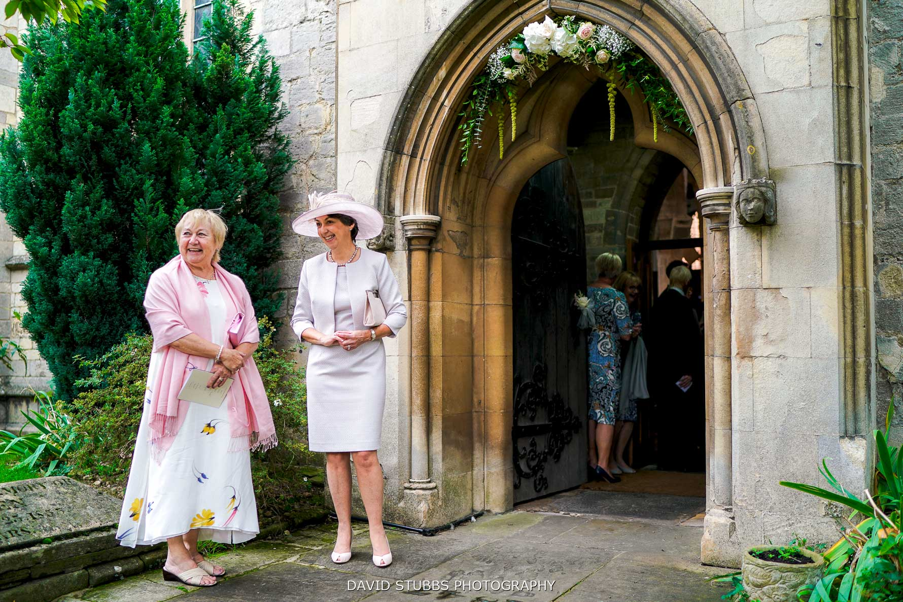 guests waiting outside the ceremony