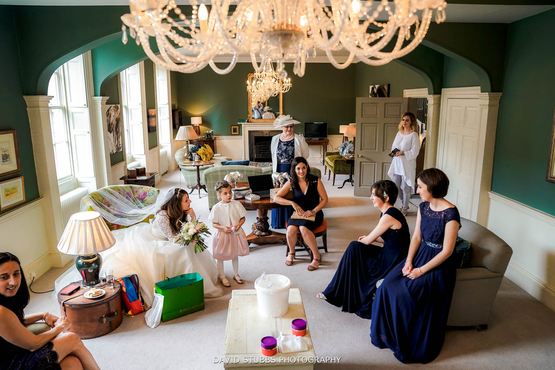 bridesmaids waiting in house