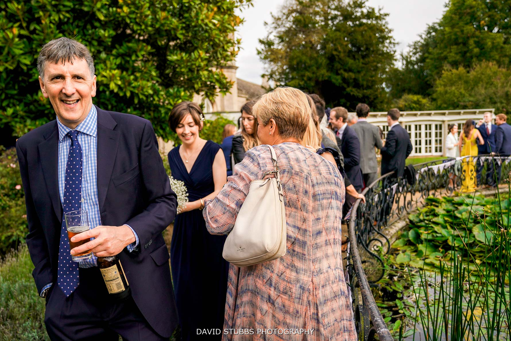 outside in the rose garden for reception