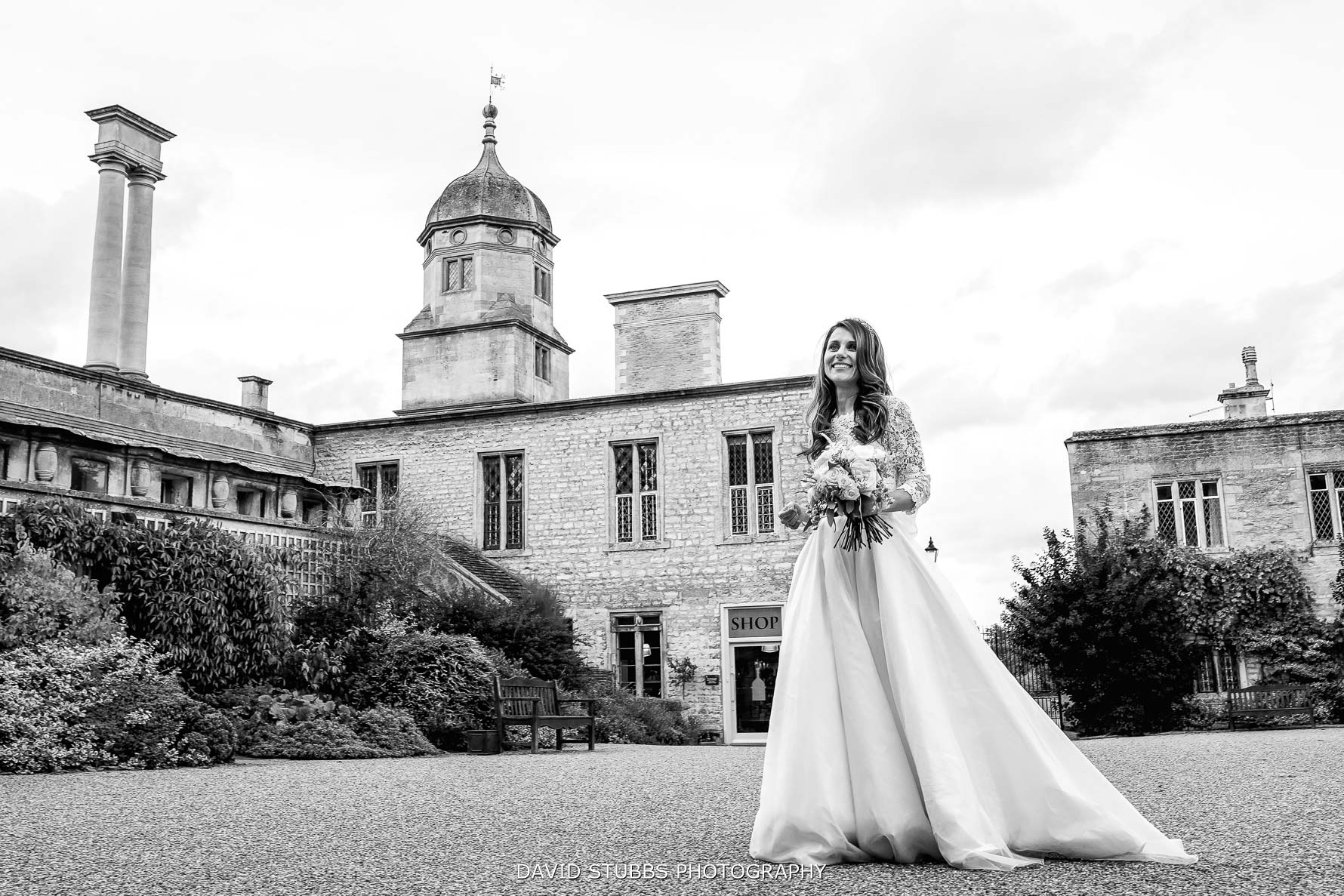 bride in the courtyard