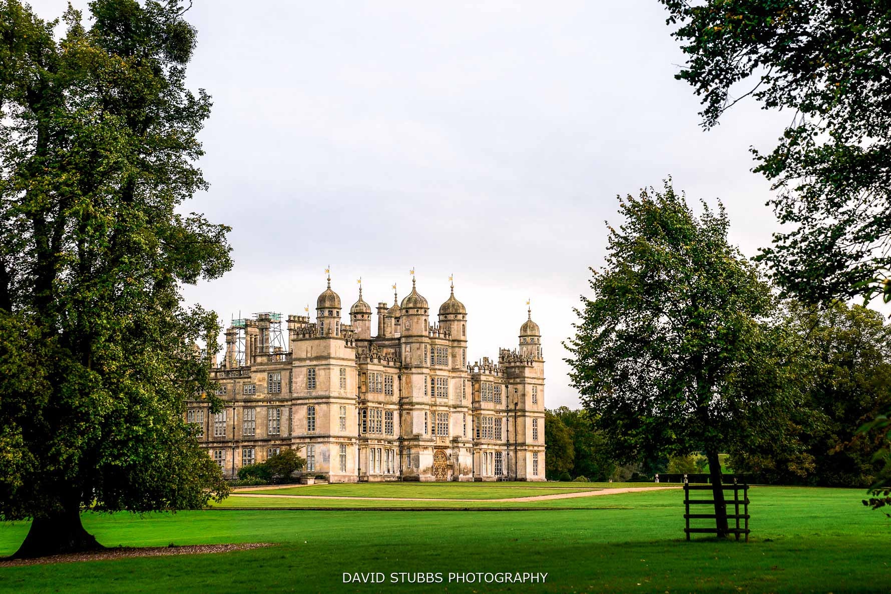 view of burghley house at wedding