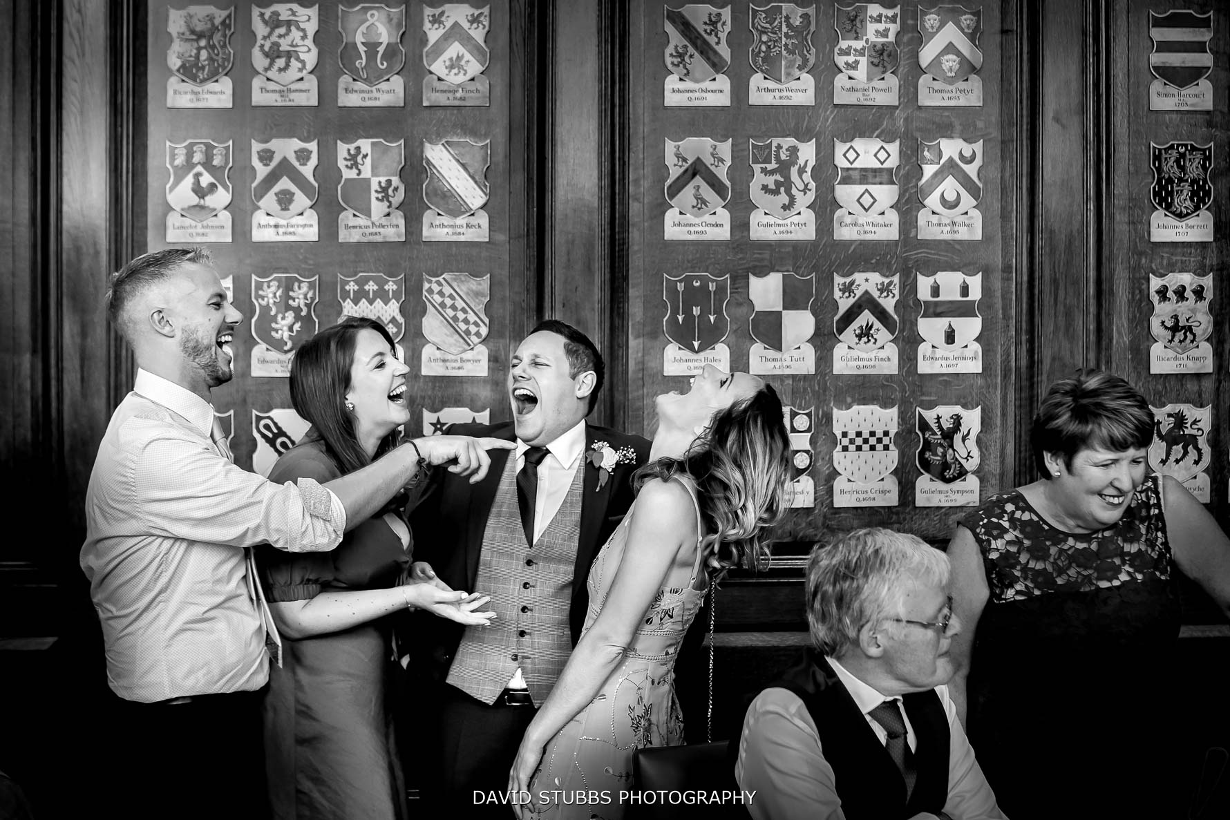 groom and friends having a ball