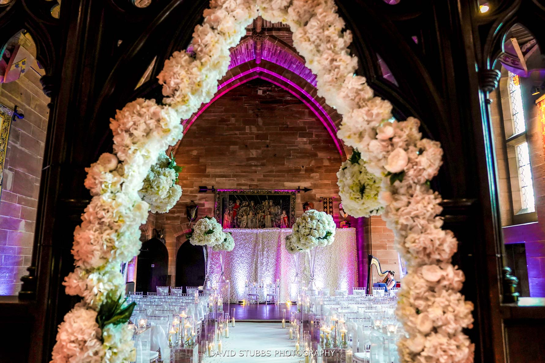 floral display at peckforton castle red architecture