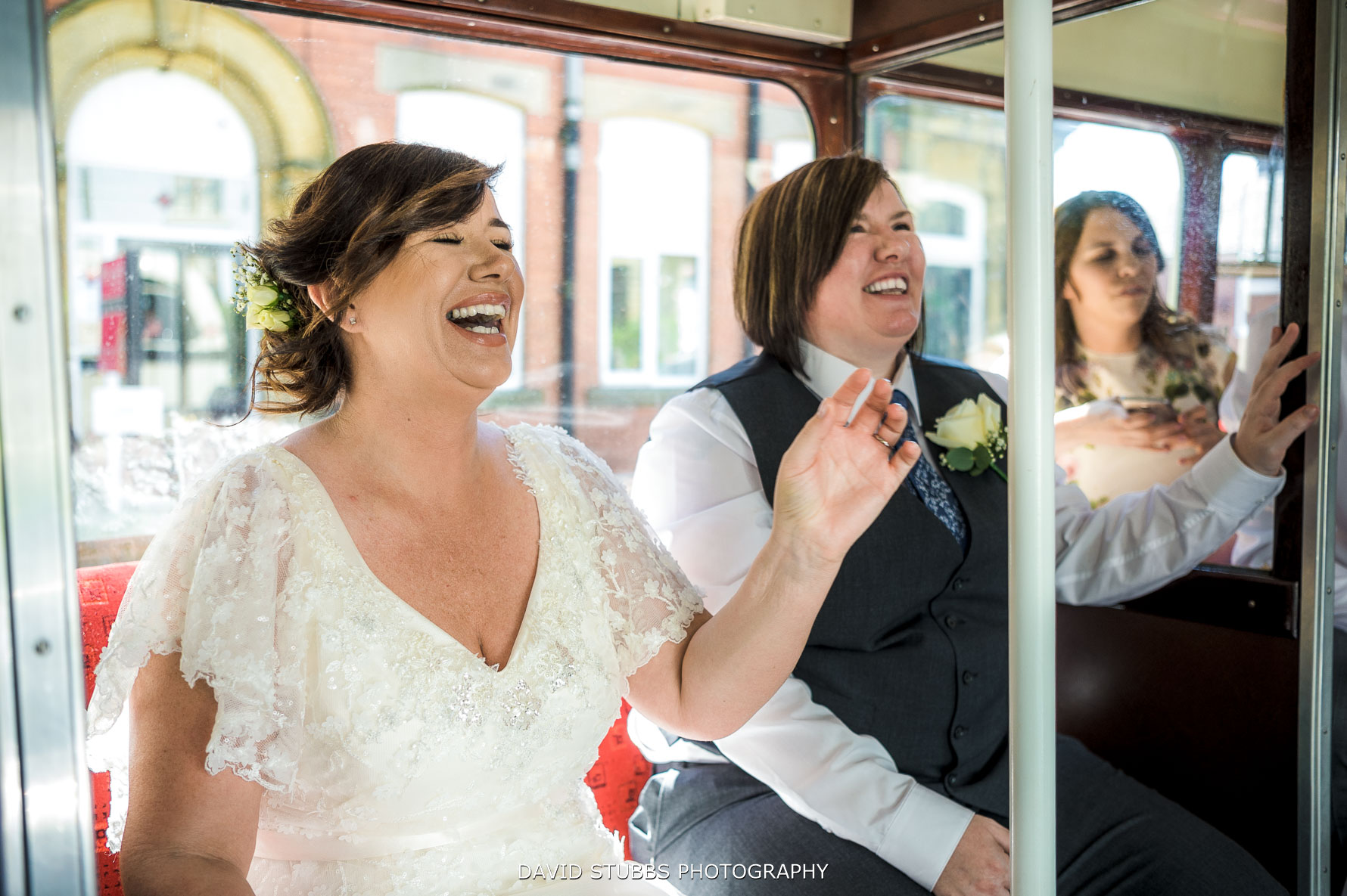 bride also arriving on the bus