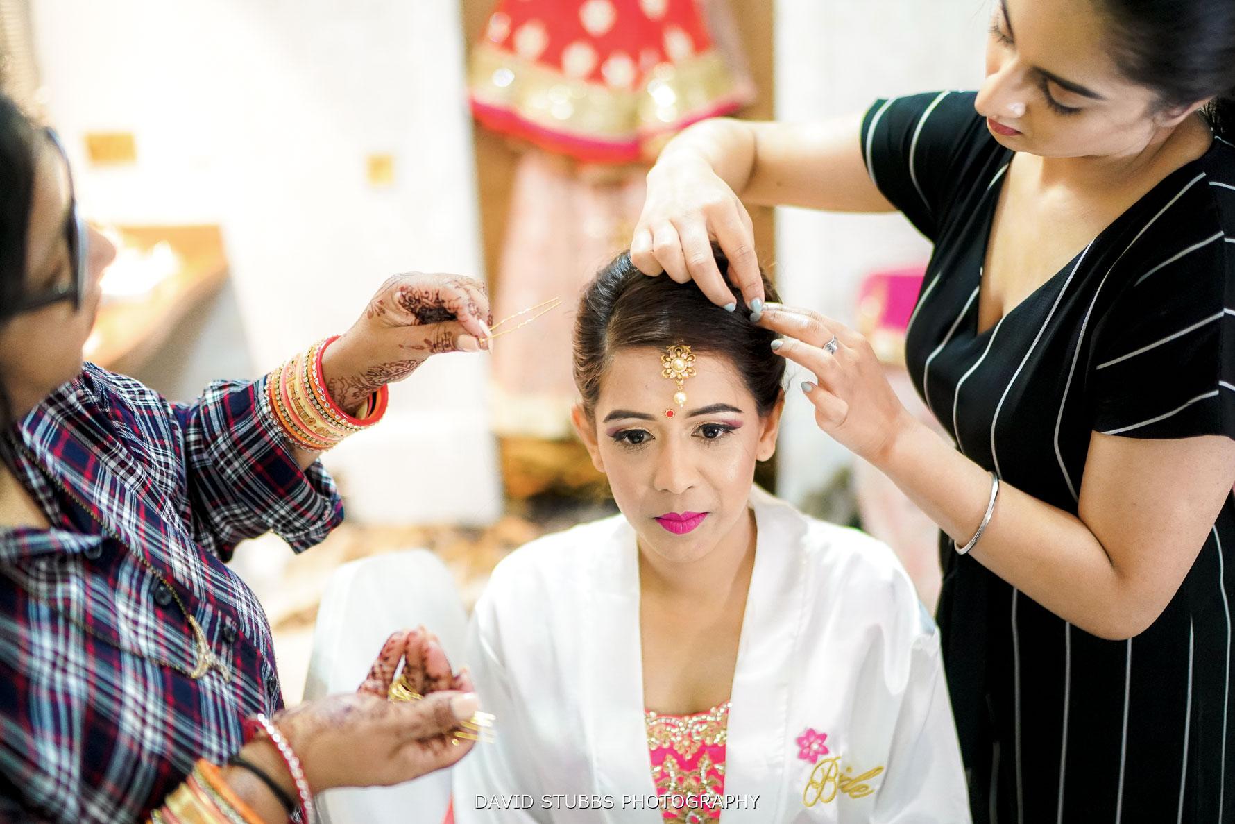 Indian wedding dress put on her head