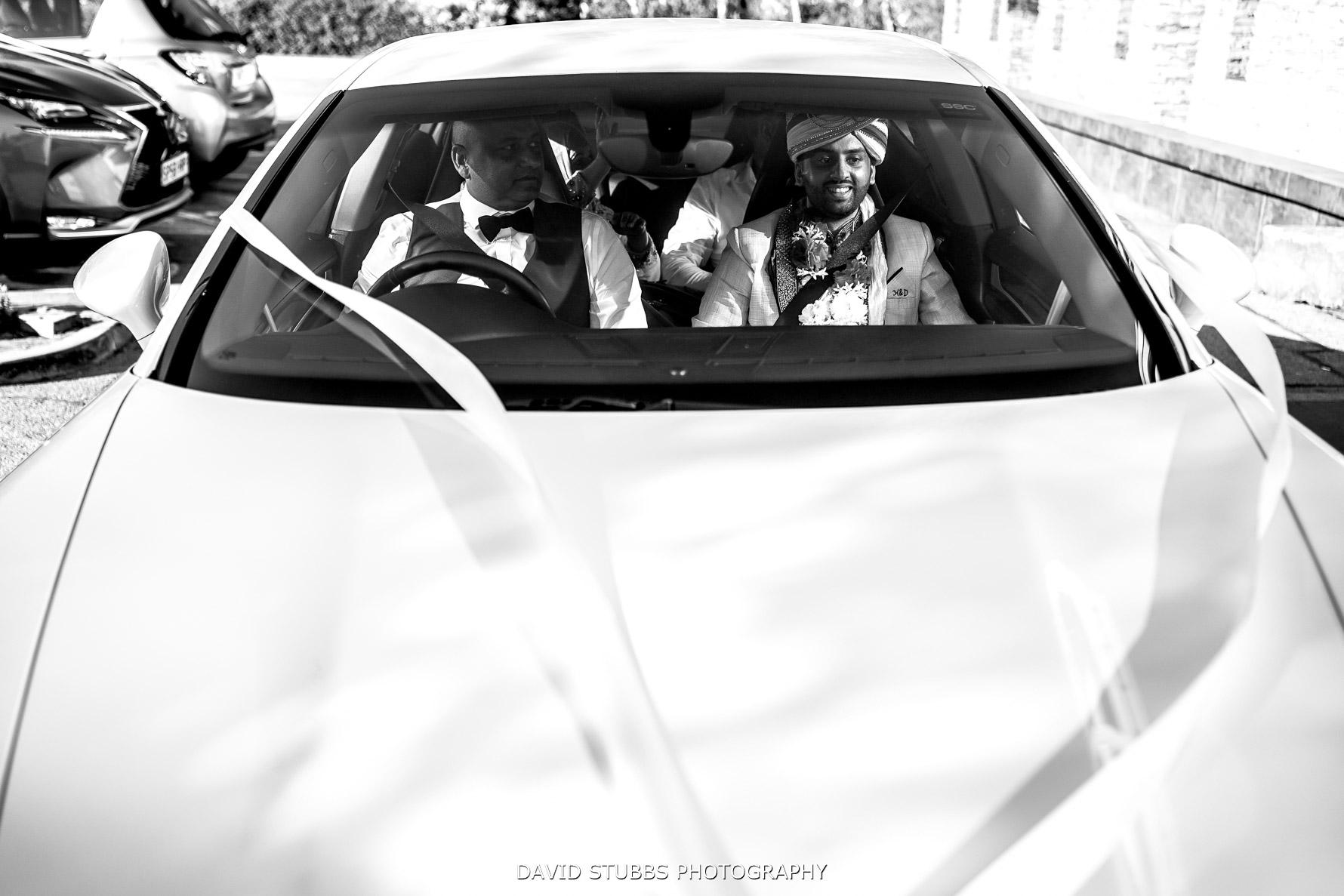 groom arriving in the wedding car